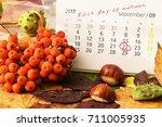 first day of autumn. calendar.... | Shutterstock . vector #711005935