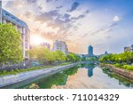 dambovita river and center of...   Shutterstock . vector #711014329