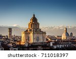 The church of San Lorenzo, Turin, Italy at sunset