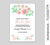 wedding invitation with pink... | Shutterstock .eps vector #711026779