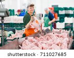 the meat factory. chicken on a... | Shutterstock . vector #711027685