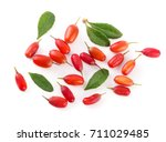 fresh barberry with leaves... | Shutterstock . vector #711029485