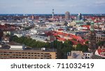 Stock photo beautiful super wide angle summer aerial view of hannover germany lower saxony seen from 711032419