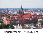 Stock photo beautiful super wide angle summer aerial view of hannover germany lower saxony seen from 711032425