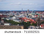 Stock photo beautiful super wide angle summer aerial view of hannover germany lower saxony seen from 711032521