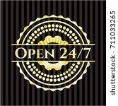 open 24 7 golden emblem or badge | Shutterstock .eps vector #711033265
