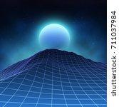 futuristic retro landscape of... | Shutterstock .eps vector #711037984