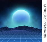 futuristic retro landscape of... | Shutterstock .eps vector #711038014
