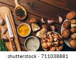 ingredients for autumn dinner ... | Shutterstock . vector #711038881