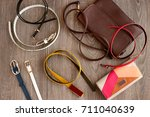 leather accessories. leather...   Shutterstock . vector #711040639