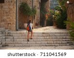 ancient stone streets with... | Shutterstock . vector #711041569