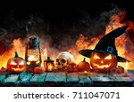 halloween in flame   burning... | Shutterstock . vector #711047071