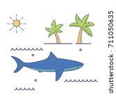 sea predator great white shark. ... | Shutterstock .eps vector #711050635