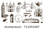 london symbols  big ben  tower  ... | Shutterstock .eps vector #711053287