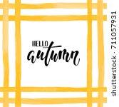 orange yellow watercolor...   Shutterstock .eps vector #711057931