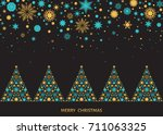 christmas and new year... | Shutterstock .eps vector #711063325