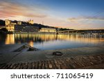 view of saone river in lyon... | Shutterstock . vector #711065419