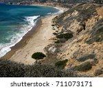 a quiet  deserted pacific ocean ... | Shutterstock . vector #711073171
