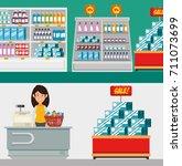 supermarket store consumerism... | Shutterstock .eps vector #711073699