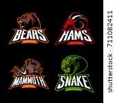 furious bear  ram  snake and... | Shutterstock .eps vector #711082411