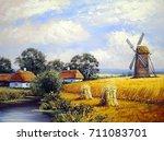 beautiful landscape. mill ... | Shutterstock . vector #711083701