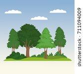 beautiful forest scene | Shutterstock .eps vector #711094009
