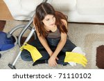 young woman hates cleaning home. | Shutterstock . vector #71110102