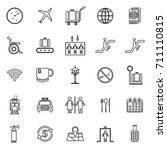 airport line icons on white...   Shutterstock .eps vector #711110815