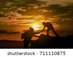two friends helping each other... | Shutterstock . vector #711110875