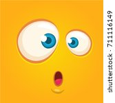 cartoon monster face. vector... | Shutterstock .eps vector #711116149