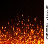 fire flames with sparks... | Shutterstock .eps vector #711120184
