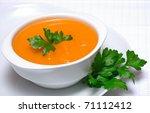 pumpkin soup in white bowl ... | Shutterstock . vector #71112412