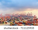 shanghai container terminal at... | Shutterstock . vector #711125935