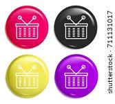 basket multi color glossy badge ...