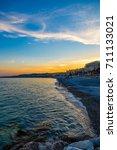 nice france sunset over the... | Shutterstock . vector #711133021