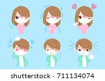 cartoon people with sick on the ...   Shutterstock . vector #711134074
