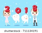 doctor and tooth with happy new ... | Shutterstock . vector #711134191
