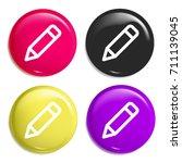 pencil multi color glossy badge ...