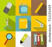 stationery symbols icon set.... | Shutterstock .eps vector #711151429