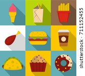 unhealthy food icon set. flat... | Shutterstock .eps vector #711152455