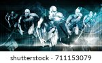 racing to the future as a... | Shutterstock . vector #711153079