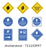 hurricane road signs  danger... | Shutterstock .eps vector #711153997