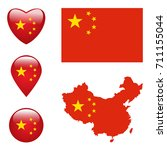 map of china with flag | Shutterstock .eps vector #711155044