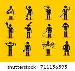 sport stick figure icons vector ... | Shutterstock .eps vector #711156595