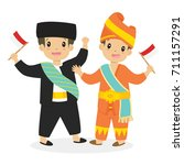 two happy boys in betawi and... | Shutterstock .eps vector #711157291