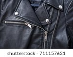 black leather punk jacket... | Shutterstock . vector #711157621