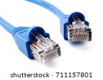 lan network connection cable on ... | Shutterstock . vector #711157801