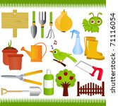 Vector Of Gardening Tools And...