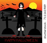 halloween background with woman ... | Shutterstock .eps vector #711161989
