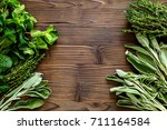 flat lay with fresh herbs and... | Shutterstock . vector #711164584